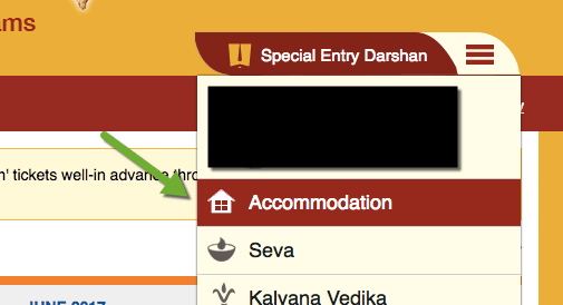 Choose Accommodation in TTD Online System