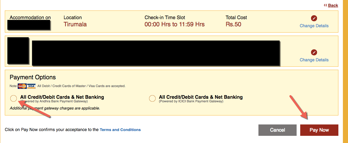 Payment Options for TTD Online Room Booking Accomodation Visa Netbanking
