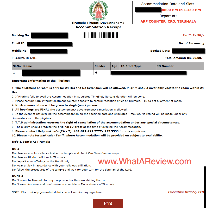 Sample TTD Accommodation Receipt Generated by Online TTD System