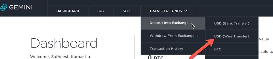 Deposit Menu