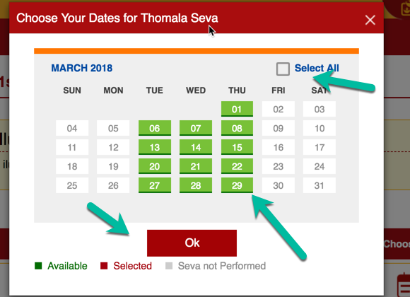 Select all days in Seva