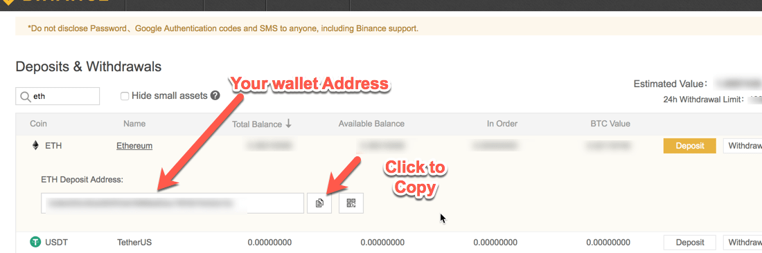 Deposit Address Ethereum Binance -min