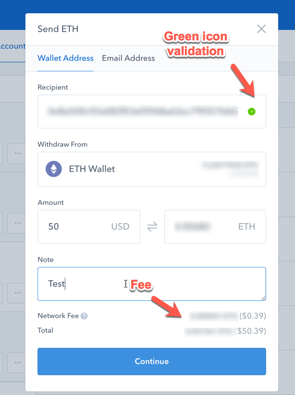 Receipient Address and Network Fee Coinbase-min
