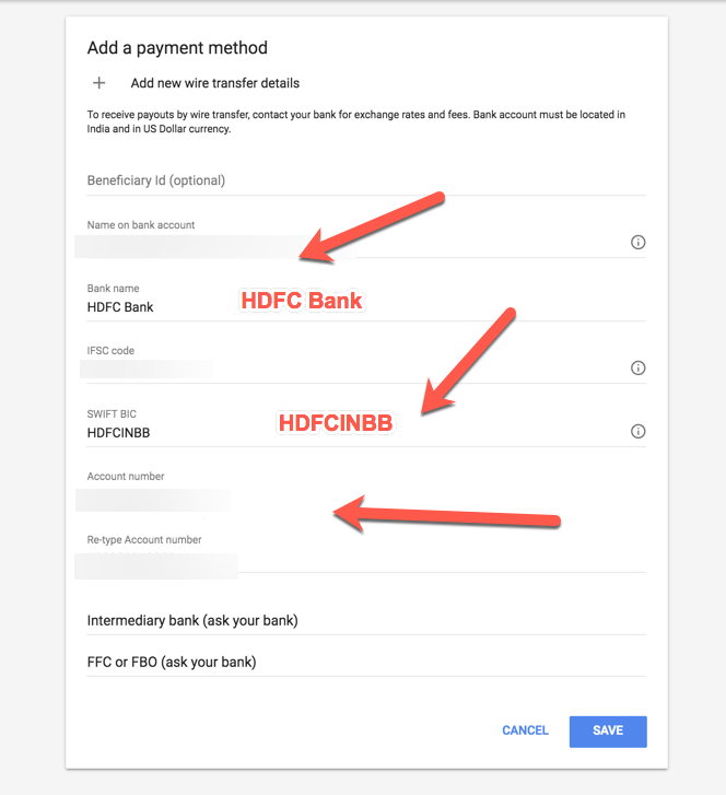 HDFC Bank Payment Details Adsense SWIFT Code