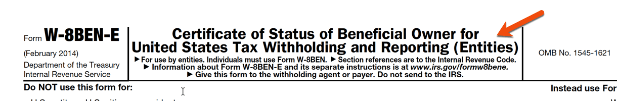 W-8BEN-E form for Entities