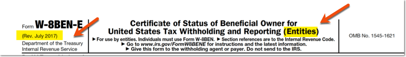 Check the right version of the W-8BEN-E form
