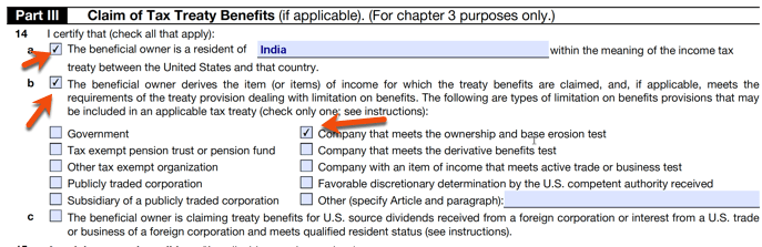 Claim of Tax Treaty benefits W8BEN E form 14b option selection.