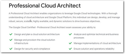 GCP Professional Cloud Architect Exam info