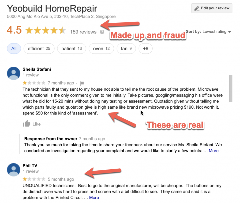 YeoBuild HomeRepair Singapore Reviews on Google Maps, except few, most are made up.