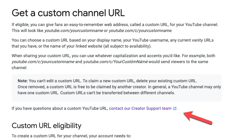Youtube Help Page for custom URL