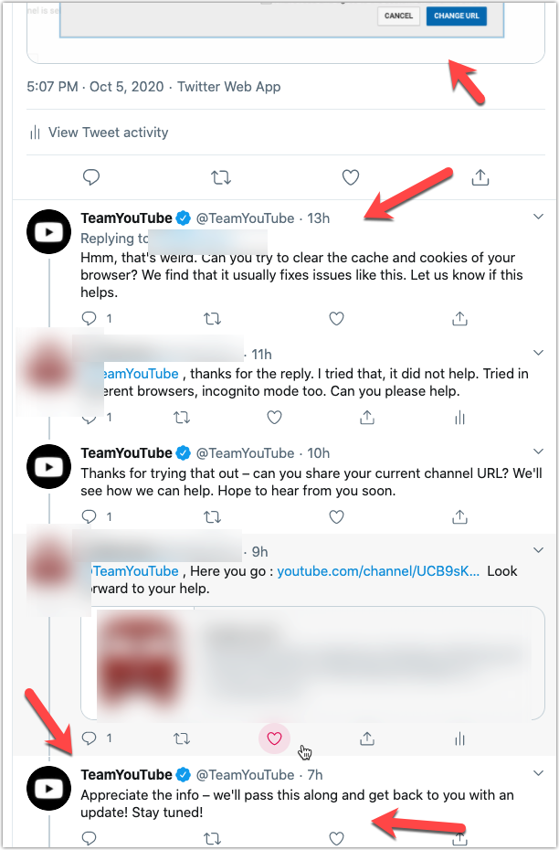 Youtube Tweet Chat and response.